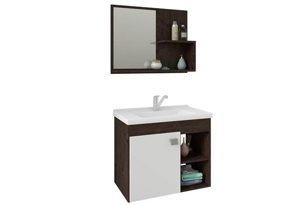 Gabinete Suspenso para Banheiro Lótus 46x55cm Branco E Café - MGM