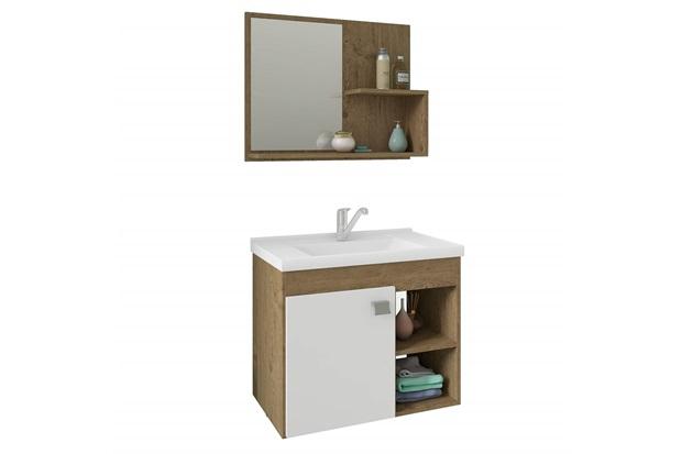 Gabinete Suspenso para Banheiro Lótus 46x55cm Branco E Carvalho - MGM