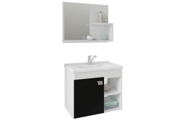 Gabinete Suspenso para Banheiro Lótus 46x55cm Branco E Preto - MGM
