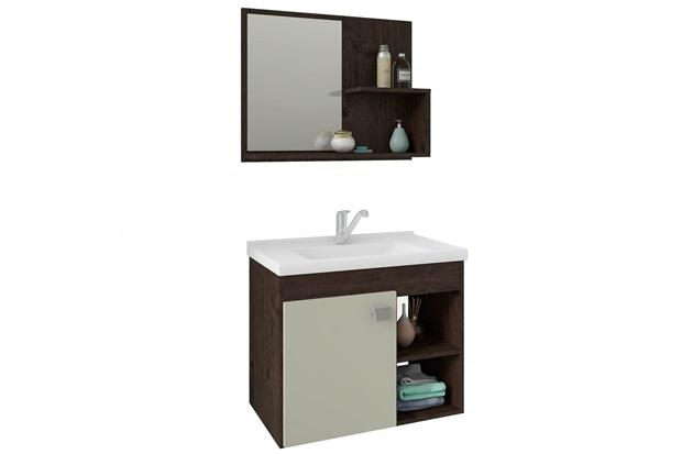 Gabinete Suspenso para Banheiro Lótus 46x55cm Café E Off White - MGM