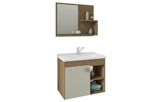Gabinete Suspenso para Banheiro Lótus 46x55cm Carvalho E Off White - MGM