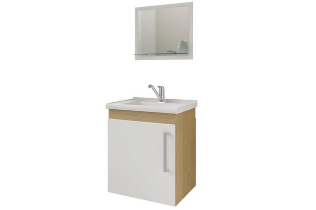 Gabinete Suspenso para Banheiro Viena 52x45cm Branco E Nogueira - MGM Móveis