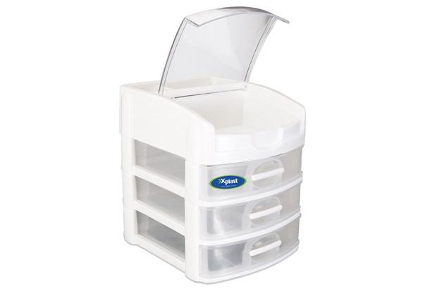 Gaveteiro de Mesa com 3 Gavetas Organizer Plus Branco E Transparente - Xplast