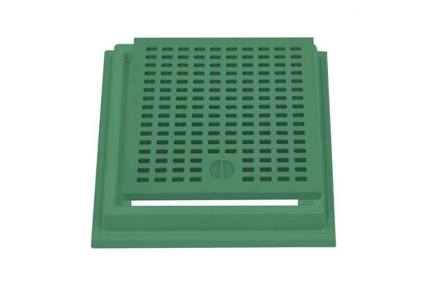 Grelha com Aro 30x30 Verde - Stamplast
