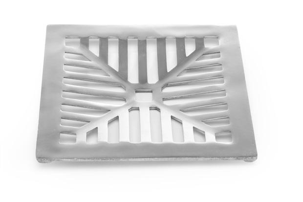 Grelha Fixa Côncova em Alumínio Polido 20x20cm  - Costa Navarro