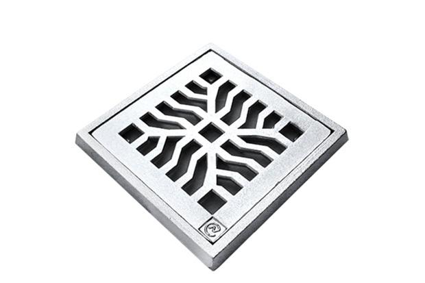 Grelha Quadrada em Alumínio Martelada com Porta Grelha Elegance 20x20cm Cromada - Costa Navarro