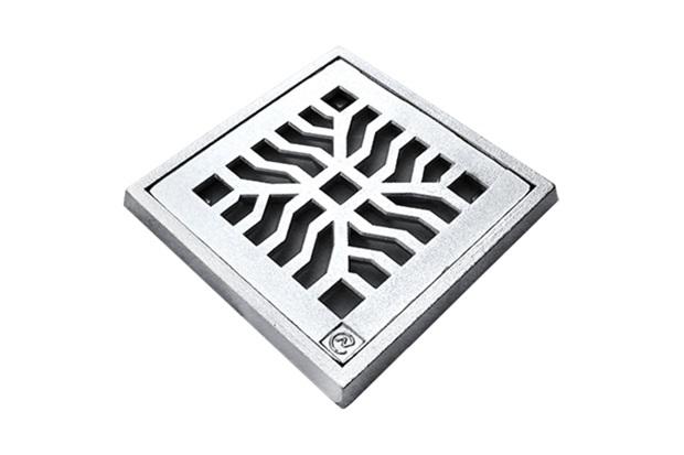 Grelha Quadrada em Alumínio Martelada com Porta Grelha Elegance 25x25cm Cromada - Costa Navarro