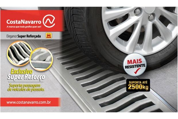 Grelha Retangular em Alumínio Martelada com Porta Grelha Elegance 15x30cm Cromada - Costa Navarro