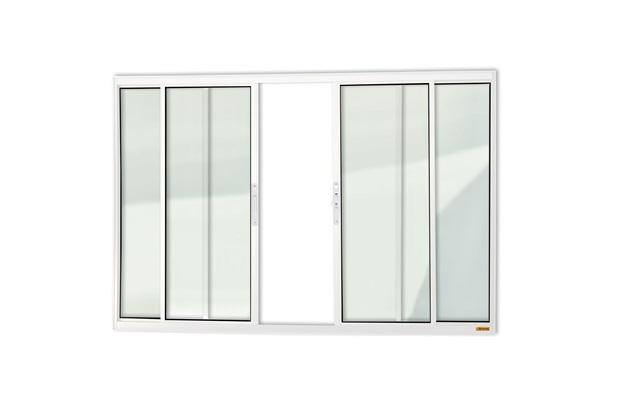 Janela de Correr Central em Alumínio Confort com 4 Folhas 100x120cm Branca - Brimak