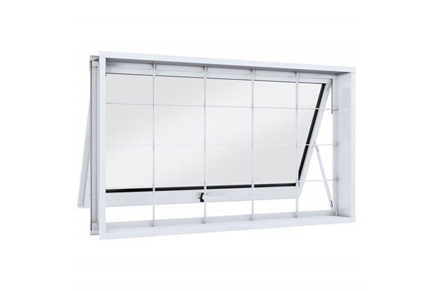 Janela Maxim-Ar em Aço com Grade Quadrada 80x60cm Branca - Lucasa