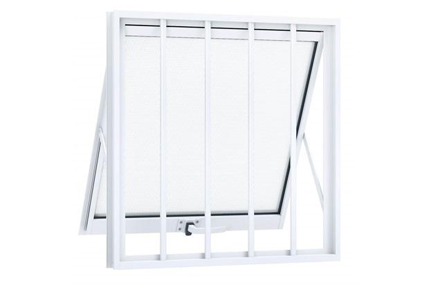 Janela Maxim-Ar em Alumínio com Grade 60x60cm Branca - Lucasa