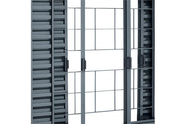 Janela Veneziana de Correr Central com Grade Quadriculada Belfort 100x150cm Cinza - Sasazaki