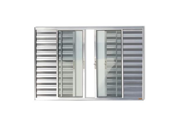 Janela Veneziana de Correr Central em Alumínio Confort com 6 Folhas 100x150cm Brilhante - Brimak