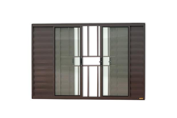 Janela Veneziana de Correr com 6 Folhas E Grade em Alumínio Confort 100x150cm Marrom - Brimak