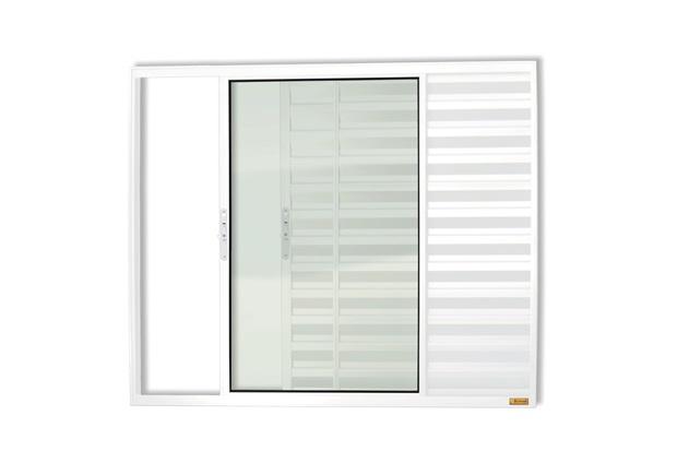 Janela Veneziana de Correr Esquerda com 3 Folhas em Alumínio Confort 80x80cm Branco - Brimak