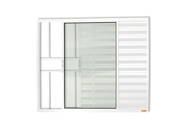 Janela Veneziana em Alumínio Confort 3 Folhas com Grade 100x150cm Branca - Brimak