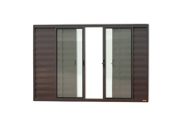 Janela Veneziana em Alumínio Confort 6 Folhas sem Grade 100x150cm Marrom - Brimak