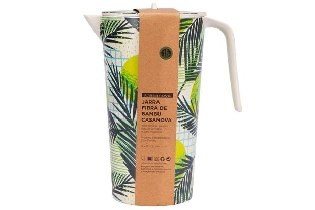 Jarra em Fibra de Bambu 22x17cm Bege E Verde - Casanova