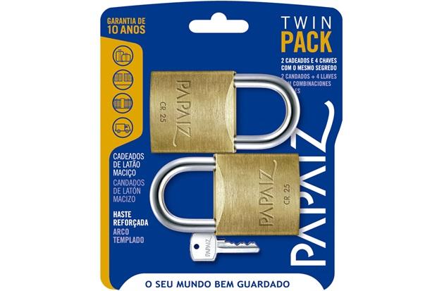 Jogo de Cadeado em Latão Twin Pack 25mm com 2 Peças - Papaiz  42ae3fa6c20e9