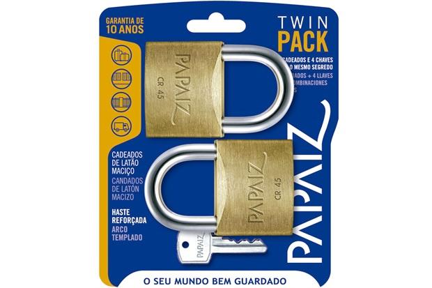 4e810e112e1 Jogo de Cadeado em Latão Twin Pack 45mm com 2 Peças - Papaiz