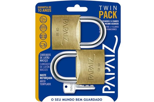 Jogo de Cadeado em Latão Twin Pack 50mm com 2 Peças - Papaiz