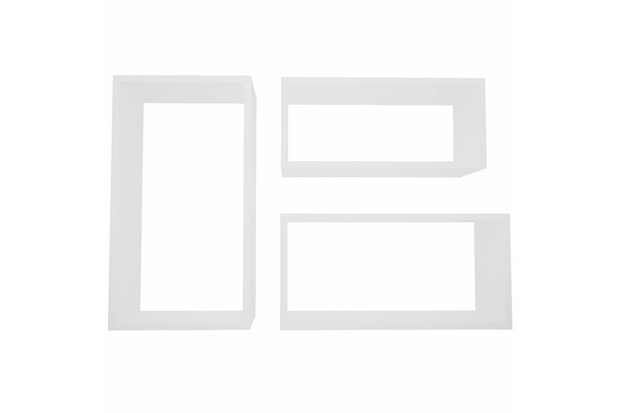 Jogo de Nicho Retangular em Madeira Branco - Decorprat