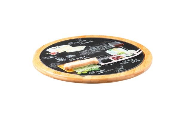 Jogo de Servir Queijo World Cheese Preto com 2 Peças - Casa Etna