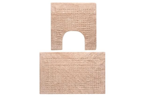 Jogo de Tapetes para Banheiro em Algodão Ágra 40x60cm com 2 Peças Bege - Jolitex