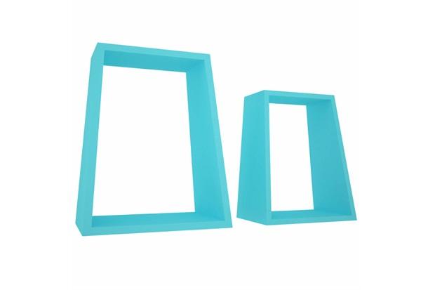 Jogo Nicho Angular em Madeira Azul Turquesa - Decorprat