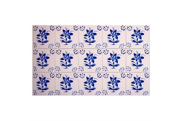 Kit Adesivo Ladrilho Flor Portuguesa 15x15cm Azul com 18 Peças - Casa Etna