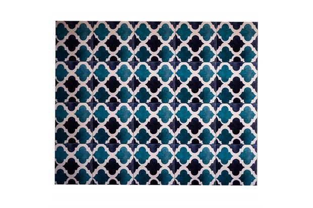 Kit Adesivo Ladrilho Geométrico 15x15cm Azul E Verde com 18 Peças - Casa Etna