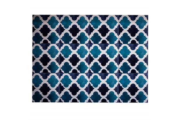 Kit Adesivo Ladrilho Geométrico 20x20cm Azul E Verde com 18 Peças - Casa Etna