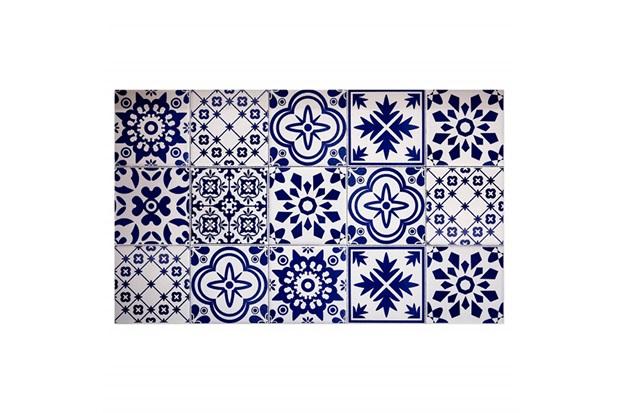 Kit Adesivo Ladrilho Português 20x20cm Azul com 18 Peças - Casa Etna