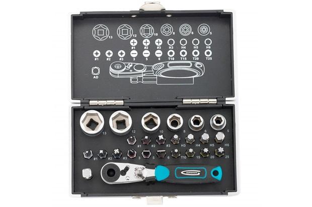 """Kit Bits E Soquetes com Encaixe de 1/4"""" E Adaptador Magnético com 25 Peças Azul E Preto - Gross"""