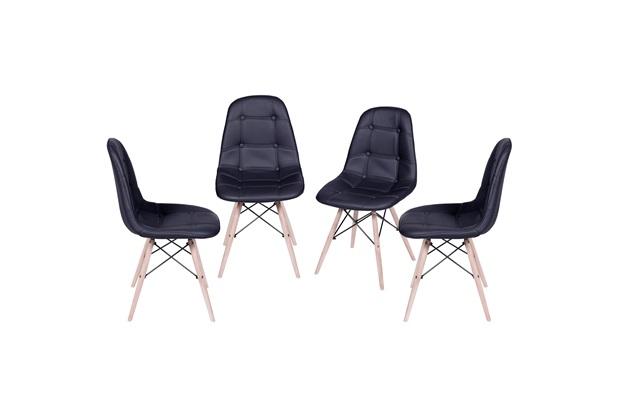 Kit Cadeira Eames Botonê com Base de Madeira Preta com 4 Peças - Ór Design