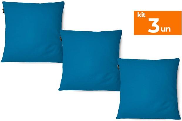 Kit com 3 Almofadas em Microfibra Aquarela 40x40cm Azul - Kit