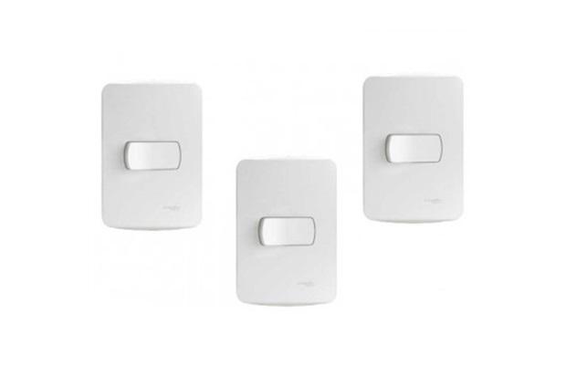Kit com 3 Conjuntos de Interruptor Simples Miluz Branco - Schneider