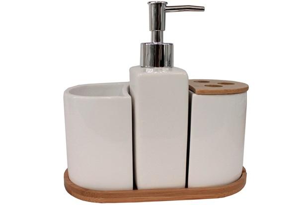 Kit de Acessórios para Banheiro em Cerâmica com 4 Peças Branco E Bambu - Casanova