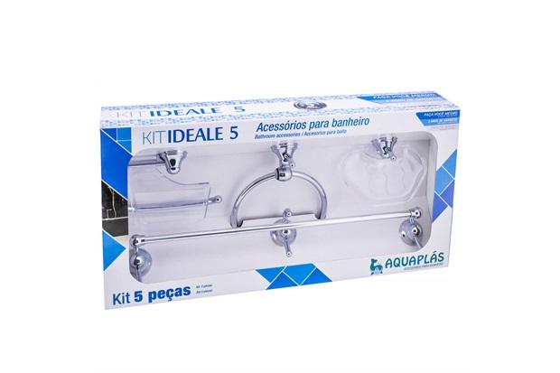 Kit de Acessórios para Banheiro Ideale com 5 Peças Cristal - Aquaplás