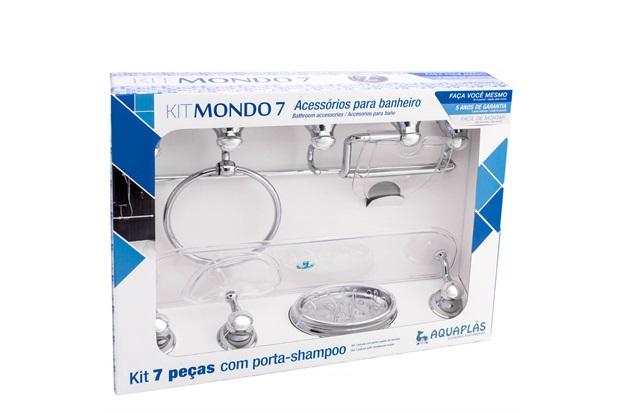 Kit de Acessórios para Banheiro Mondo com 7 Peças Cristal - Aquaplás