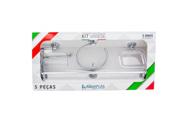 Kit de Acessórios para Banheiro Varese com 5 Peças Cromado - Aquaplás