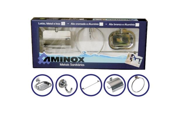 Kit de Banheiro com 5 Peças Aço Inox Ligas  - Aminox