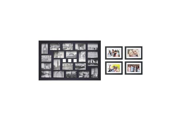 Kit de Painel E Porta Retratos Iv Preto com 5 Peças - Kapos