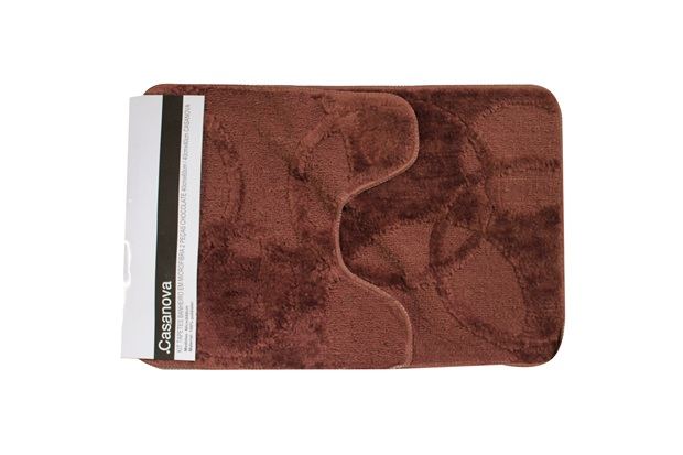 Kit de Tapetes de Banheiro em Microfibra com 2 Peças Chocolate - Casanova