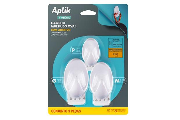 Kit Gancho Plástico Oval Branco com 3 Peças - Ordene