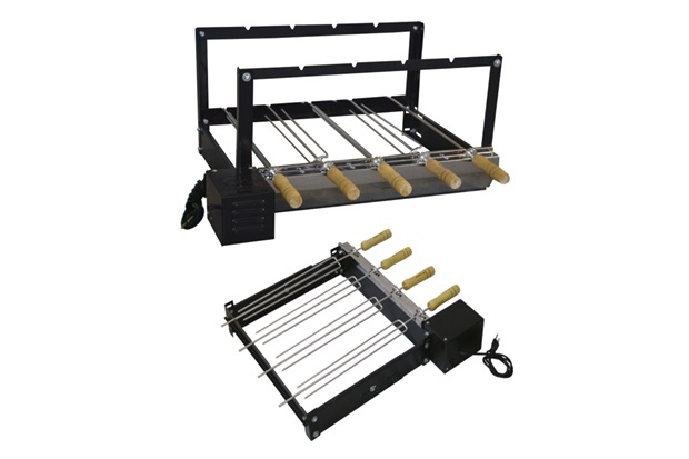 Kit Giratório Baixo em Aço Carbono para Churrasqueira 33x50x45cm com 4 Espetos - Santa Edwirges