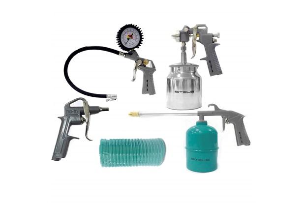 Kit Pistola com Tanque Baixo + Acessórios Pneumáticos Verde E Cinza  - Stels
