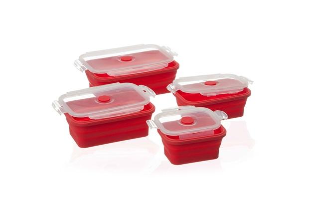 Kit Pote Dobrável Retangular em Silicone Vermelha com 4 Peças - Casa Etna