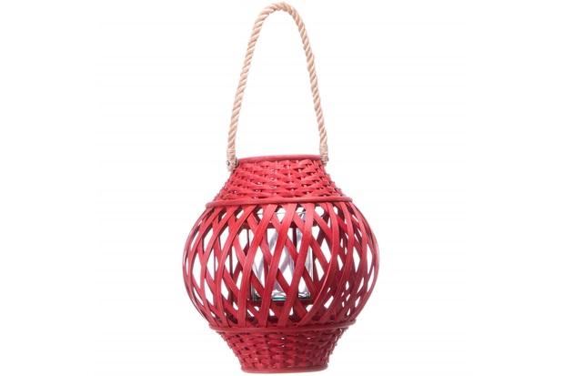 Lanterna Bamboo 30cm Vermelha - Casa Etna