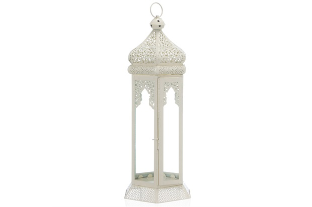 Lanterna em Ferro Ravi Marroquina 48cm Branca - Casa Etna